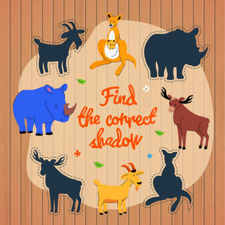 Find the correct shadow game vector template 스톡 콘텐츠 - 131696292