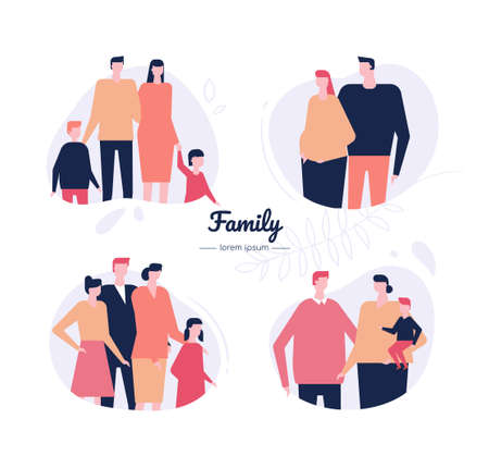 Family - flat design style vector characters set