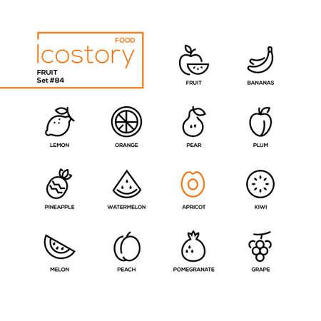 Fruit - modern line design style icons set