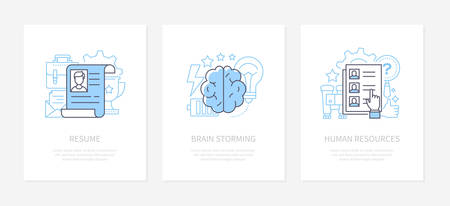 Employment and recruitment - line design style icons set. Resume, brainstorming, human resources banners with text space. Business training, headhunting, search for employee infographic elements