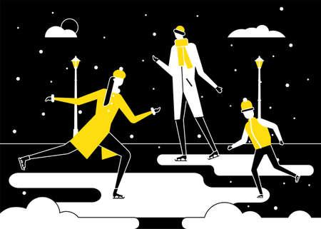 Winter sports, skating - flat design style illustration Ilustração