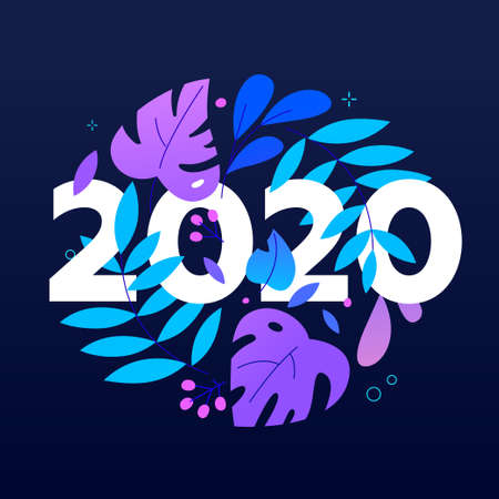 2020 number and leaves in circle shape flat vector illustration Stock Vector - 132098236