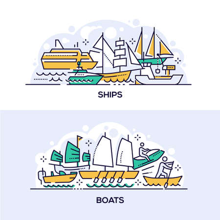 Ships and boats vector banner templates set. Modern and ancient water transport. Various maritime vehicles thin line illustrations with typography. Cruise liner yacht, jet ski, old fashioned sailboats