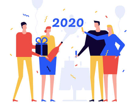 New Year 2020 celebration flat design style illustration