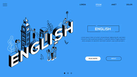 English language colorful vector landing page template. Foreign language learning isometric word concept web banner. Outline London tower, tourists, British flag. Language school 3d website layout Иллюстрация