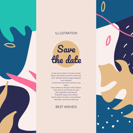 Save the date colorful flat banner template Reklamní fotografie - 131695901