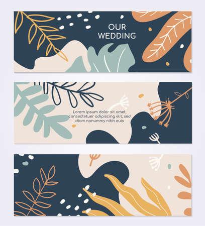 Marriage ceremony invitation vector colorful card template Reklamní fotografie - 131696195