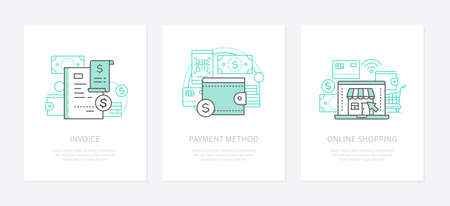 Banking operation - line design style icons set