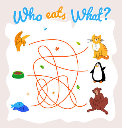 Who eats what maze, labyrinth vector template. Animal food puzzle, educational children game. Adorable ginger cat, penguin and monkey cartoon characters. Wildlife flat illustration Vectores