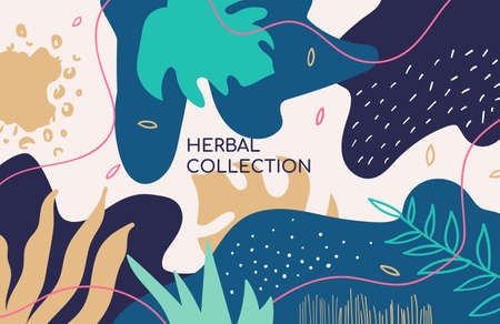 Abstract herbal collection vector colorful banner template 版權商用圖片 - 131696210