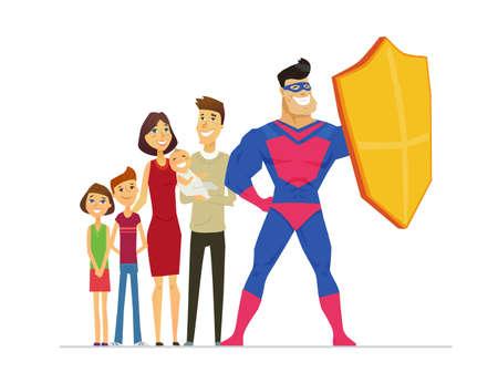 Insurance service metaphor flat design style vector illustration