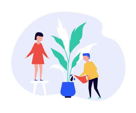 Children watering houseplant together flat vector illustration