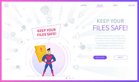 Keep your files safe landing page template Stock Illustratie