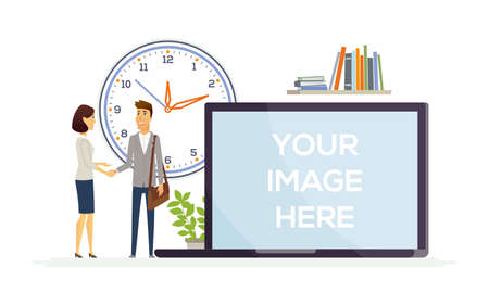 Partnership - colorful modern vector illustration with cartoon characters. A composition with business people, a man, woman shaking hands, a big clock. A laptop with place for your image on the screen