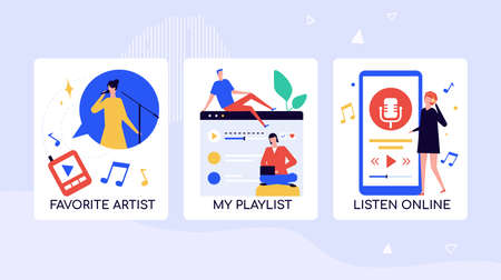 Music fans leisure time vector banner template  イラスト・ベクター素材
