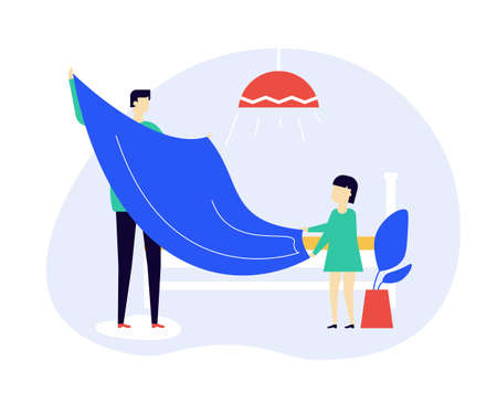 Father and daughter making bed together flat vector illustration