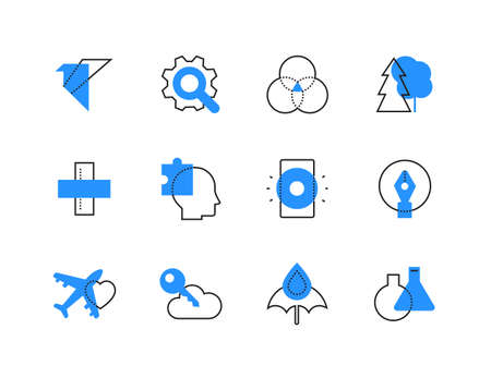Tourism and technology color line icons set. Outdoor recreation, travel, science and online storage symbols. Cog with magnifier, trees, umbrella, cloud with key, plane and flasks images Banque d'images - 131219651