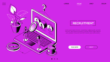 Recruitment - line design style isometric web banner on purple background with copy space for text. A website header with male, female managers choosing best candidate, looking at CVs on laptop screen