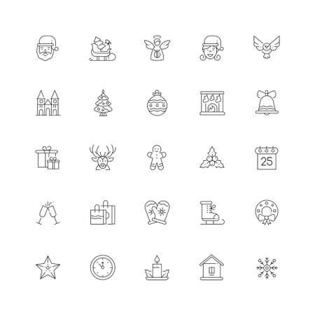 Xmas symbols line design style vector icons set Illustration