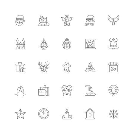 Xmas symbols line design style vector icons set