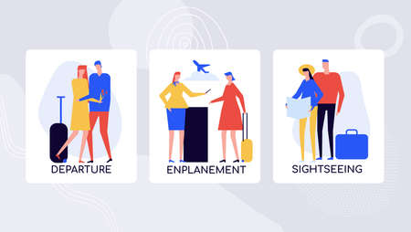 Journey planning and traveling vector banner template. Romantic man seeing off sweetheart at departure lounge. Customs officer at enplanement procedure. Tourists on honeymoon holiday enjoy sightseeing