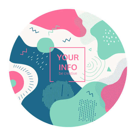 Abstract composition - modern colorful retro style banner in a round frame on white background. High quality blue, turquoise, pink card, invitation template with textures, dots, lines and blurs