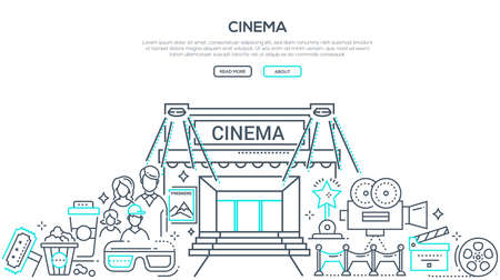Visiting cinema linear vector landing page template. Parents and kids watching movies with popcorn and fizzy drinks thin line illustrations. Cinematography accessories, camera, clapper board items