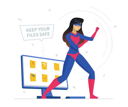 Computer privacy protection metaphor flat vector illustration