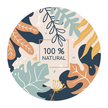100 percent natural colorful social media banner template. Organic product advertising, promotional poster botanical design. Abstract foliage, plant leaves flat vector illustration with typography Illusztráció