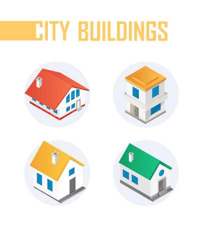 City buildings - modern vector colorful isometric elements Foto de archivo - 132098274