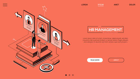 HR management - line design style isometric web banner on orange background with copy space for text. A header with male, female managers choosing the best candidate, looking at CV on smartphone