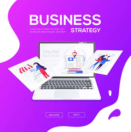Business strategy - flat design style colorful web banner with place for title, text. A composition with a laptop and pictures with male, female characters. Online shopping, dating, learning themes