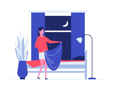 Neat woman making bed flat vector illustration. Teenage girl, young adult holding blanket cartoon character. Household chores, housekeeping concept. Teenager doing housework, bedroom cleanup  イラスト・ベクター素材