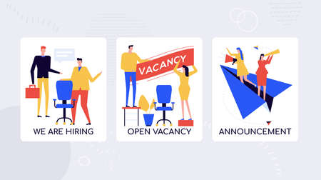 HR agency hiring staff vector banner template. Human resources department inviting candidates. Open vacancies for applicants. Headhunters, recruiters searching highly qualified workers posters set
