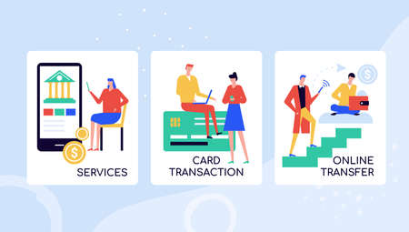 Online banking services vector colorful banner template. Bank worker consulting client on credit card transactions. Mobile app for monitoring personal finances. Internet monetary transfers posters set