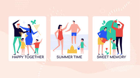 Happy family pastime vector colorful banner template. Parents, children catching butterflies with net cartoon characters. Summer vacations together at seaside. Sweet unforgettable childhood memories Çizim