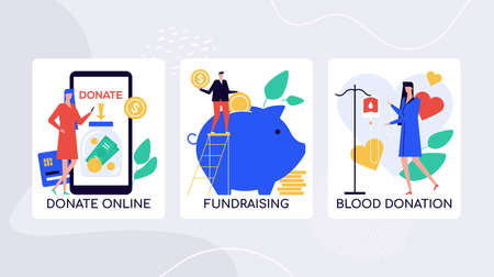Crowdfunding initiatives, charity vector colorful banner template. Donations online for charitable organization. Fundraising for community projects. Blood donation awareness posters collection Foto de archivo - 132478703