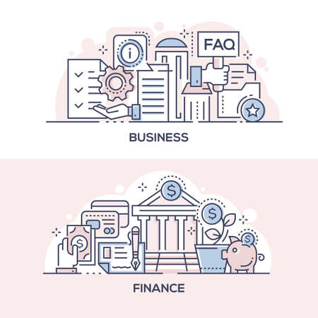 Business assistance and finances management banner template. Client support and banking service symbols thin line illustrations with typography. Informational help, deposit investment, money transfer Zdjęcie Seryjne - 132554370