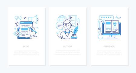 Blogging online - line design style banners set