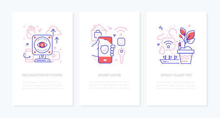 Smart devices - line design style banners set