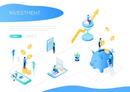 Concept d'investissement - bannière web vecteur isométrique coloré sur fond blanc avec espace de copie pour le texte. Un en-tête avec des collègues masculins et féminins debout sur une pile de pièces. Images de tirelire, calculatrice