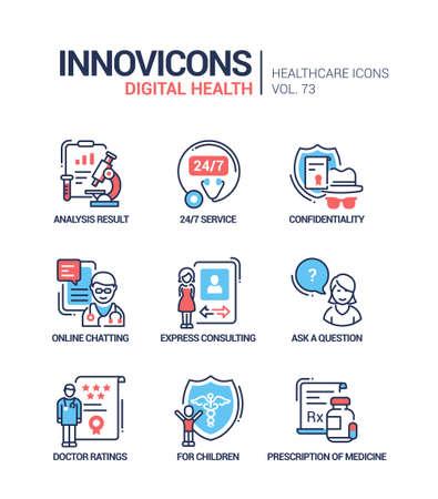 Digital health line design style icons set