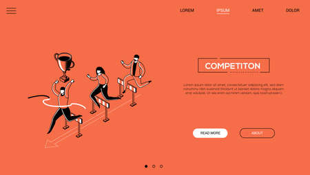 Competition - line design style isometric web banner on orange background with copy space for text. Male, female characters jumping over obstacles, hurdles, businessman winning. Leadership concept