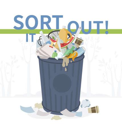 Ordénelo: ilustración de estilo de diseño plano. Ayuda visual sobre eco, tema de reciclaje. Cubo de basura desbordado lleno de basura sin clasificar. Plástico, vidrio, papel, basura orgánica y metálica agrupados Ilustración de vector