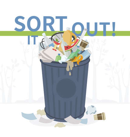 Sort it out - flat design style illustration. Visual aid on eco, recycling theme. Overflowing rubbish bin full of unsorted litter. Plastic, glass, paper, metallic, organic garbage lumped together