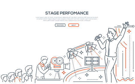 Stage performance linear landing page vector template Illustration