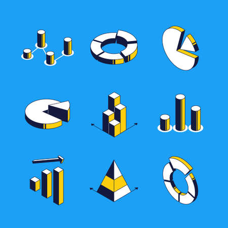 Charts and diagrams - vector isometric icons set