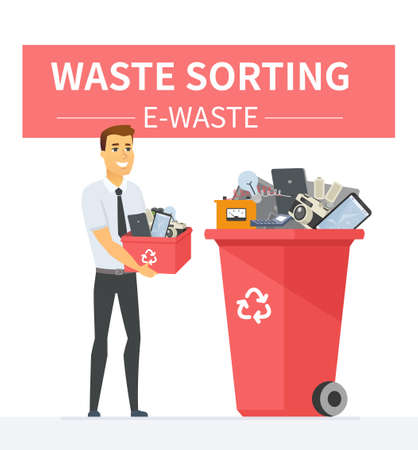 E-waste recycling - modern cartoon people characters illustration Illustration
