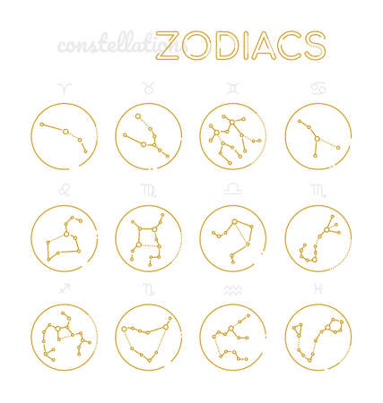 Zodiac constellations - set of twelve astrological signs