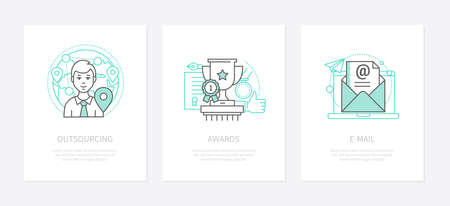 Online business - line design style icons set